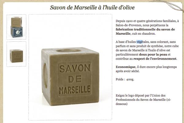 Savon de Marseille Marius Fabre aux huiles végétales