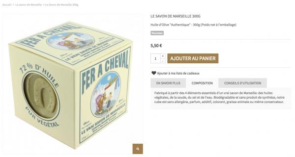 """""""Huile d'olive"""" remplacé par """"Huiles végétales"""" dans la composition du savon de Marseille Fer à Cheval"""