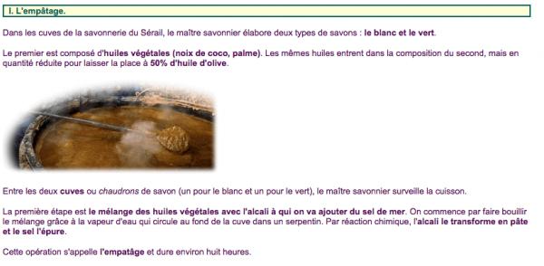 """Les ingrédients du savon de Marseille """"Le Sérail"""" à l'huile d'olive : la réalité n'est pas aussi glorieuse qu'annoncée"""
