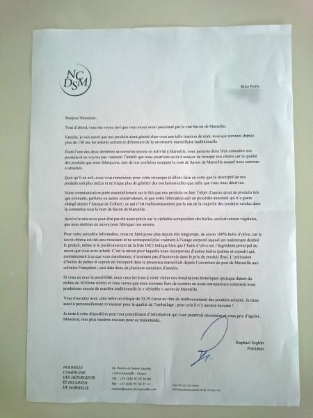 La lettre de Raphaël Seghin, président de la Nouvelle société des détergents et du savon de Marseille