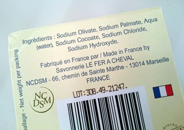 Savon de Marseille Fer à Cheval - La liste des ingrédients - huile d'olive, de coprah et de palme...
