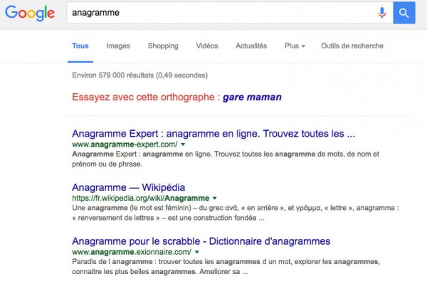 Easter egg Buzzfeed Google Anagramme