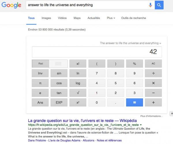 Easter egg Google Le guide du voyageur galactique
