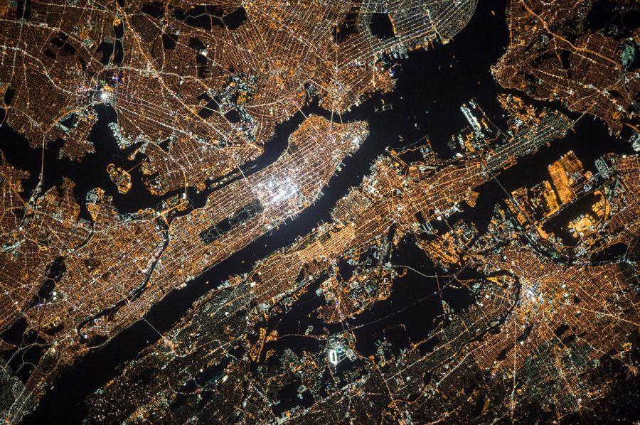 Eclairage - New York vue du ciel la nuit