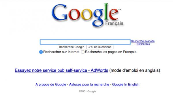 Google février 2001