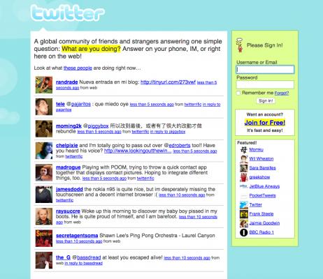 Twitter en juillet 2007