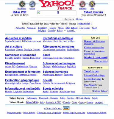 Yahoo 16 janvier 1999