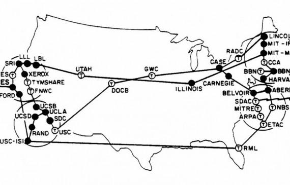 En 1973, avant d'être internet, le réseau Arpanet devient international