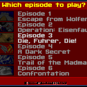 Wolfenstein 3D - choix de l'épisiode